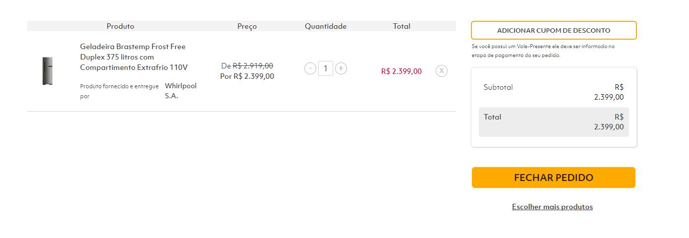 Comprando online no Telhanorte