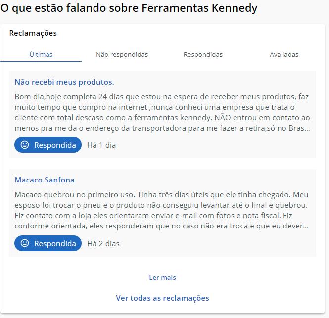 Ferramentas Kennedy no Reclame AQUI
