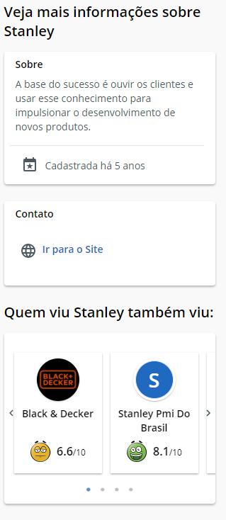 Ferramentas Stanley no Reclame AQUI